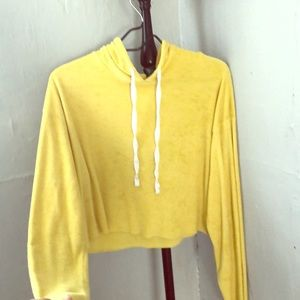 Canary Yellow Crop top hoodie